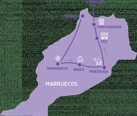 Mapa Gran Tour por Marruecos