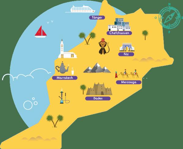 Foto mapa gran tour por Marruecos 2021: Semana Santa en Marruecos