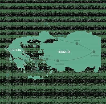 Mapa Grecia y Turquía