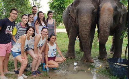 foto grupo viaje fin de carrera con elefantes