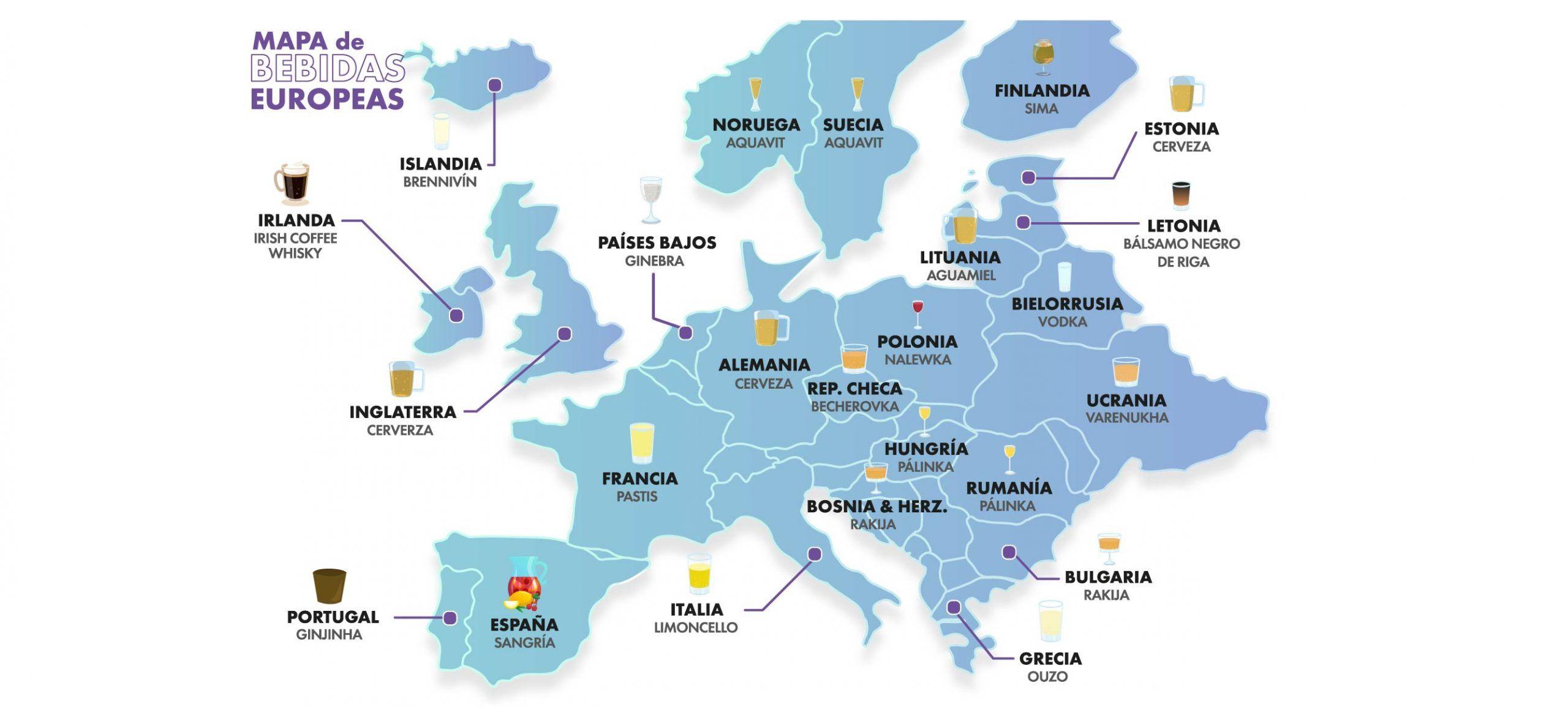 Infografía mapa Bebidas de europa