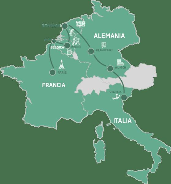 Mapa Cruzando Europa