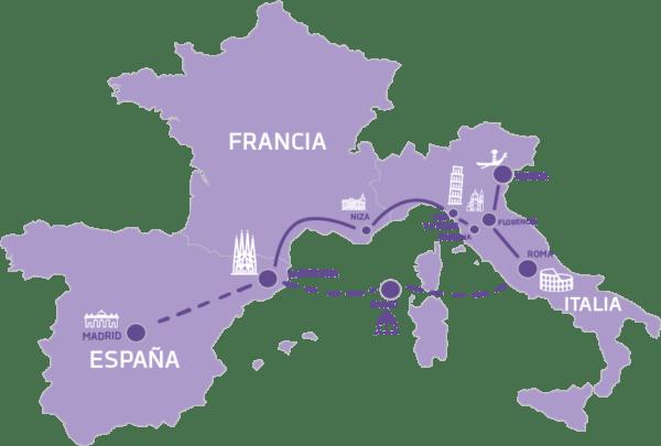 Mapa encantos del mediterráneo