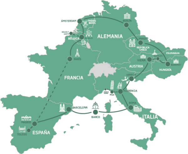 Mapa Eurotrip Mochilero