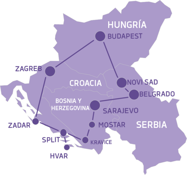 Mapa Tour por los Balcanes