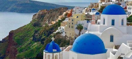 Datos curiosos de Grecia Santorini Techos azules